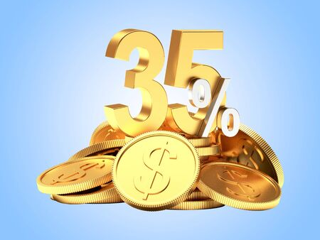 35: 35 percent discount on a pile of golden coins on blue background. 3d illustration Stock Photo