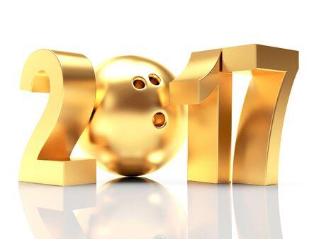 Goldene 2017 Neujahr und Bowling-Kugel. 3D-Darstellung