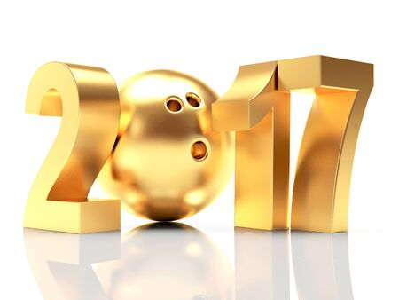 Golden 2017 New Year and bowling ball. 3D illustration Stock Photo
