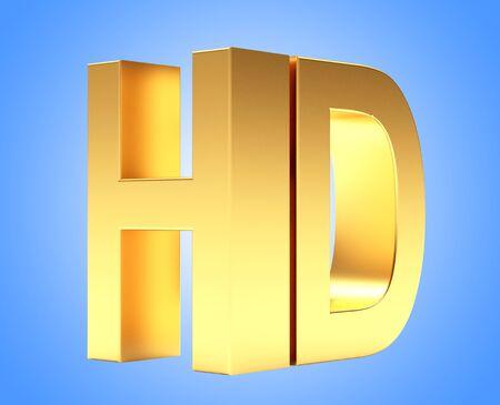 hd tv: Golden HD TV icon on blue background. 3d illustration