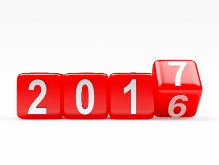 turn of the year: 2017 New Year concept. Red cubes 2016 changing for 2017 isolated on white background