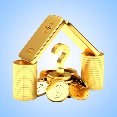 Golden bars, coins and question mark on blue background. 3D illustration.