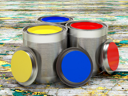 Open banks with colorful paints standing on old shabby wooden boards 3D illustration Stock Photo
