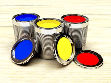 Group open cans with colorful paints on ooden background. 3D illustration Stock Photo