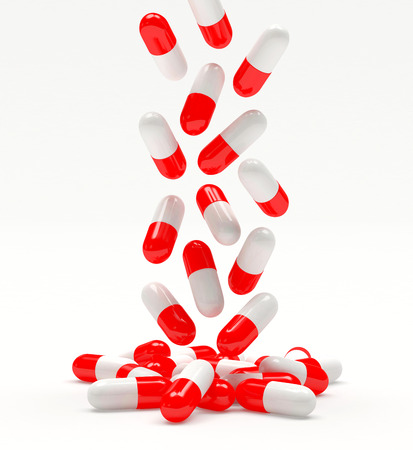 group therapy: Falling medical red capsules isolated on white background. 3D illustration