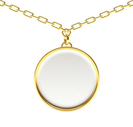 Golden blank round medallion or medal on a chain isolated on white background. 3D illustration
