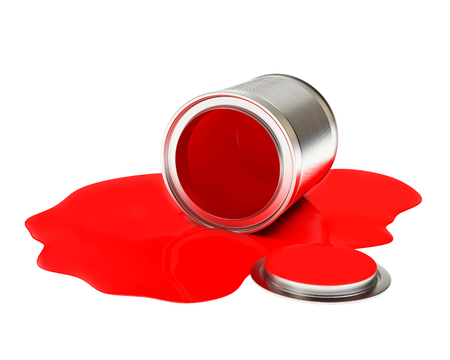 paint can: Can spilled red paint isolated on white background. 3D illustration