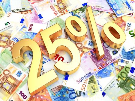 Golden 25 PERCENT on background of EURO bills. 3D illustration Stock Photo
