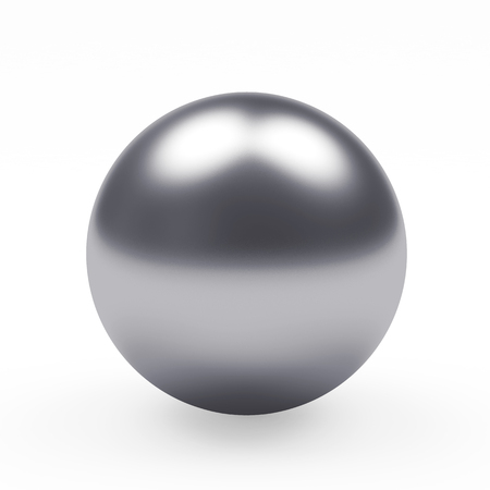 metal sphere: Silver metal sphere isolated on white background. 3D illustration Stock Photo