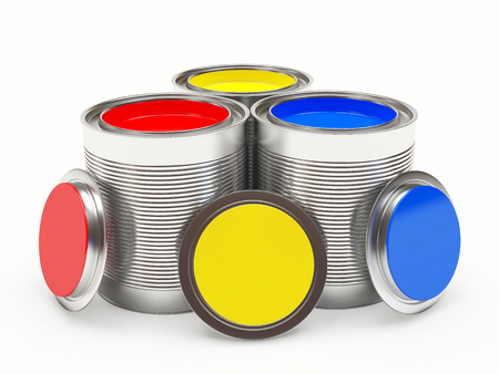 Group open cans with colorful paints isolated on white background. 3D illustration Stock Photo