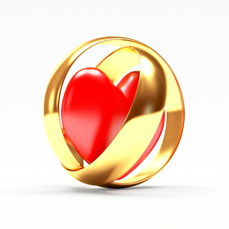 Golden wedding rings with red heart isolated on white background. 3D illustration Stock Photo