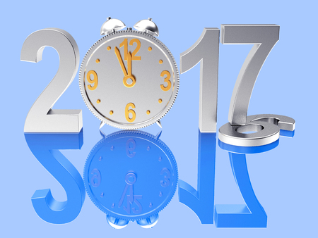 2017 New Year and clock on blue background with reflection. 2016 figures, the changes for 2017. 3D illustration Stock Photo