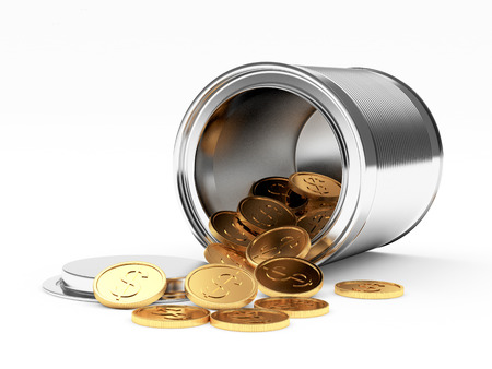 Golden coins with dollar sign spilled from the metal can on white background. 3D illustration