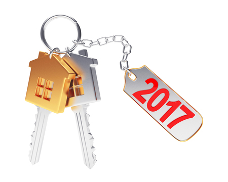 Golden and silver house-shape keys and key chain with the numbers 2017 isolated on white background. 3D illustration