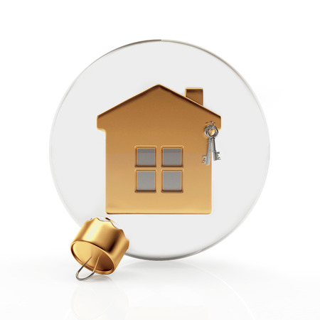 christmas concept: Glass Christmas ball with golden house isolated on a white background. 3D illustration Stock Photo