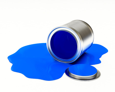paint can: Can spilled blue paint isolated on white background. 3D illustration