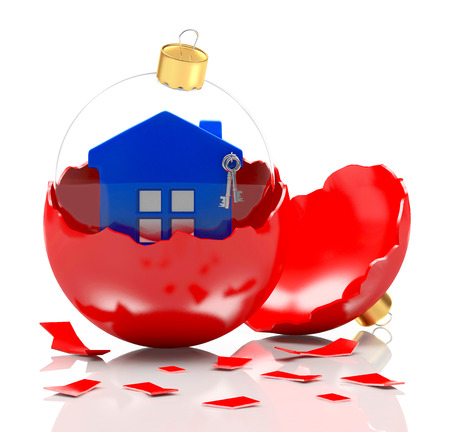 broken house: Glass Crhristmas ball with blue house in red broken Christmas decoration. 3D illustration