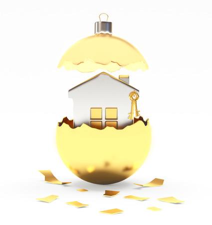 broken house: Broken golden Crhristmas ball with silver house inside on white background. 3D illustration Stock Photo