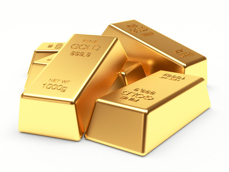 heap: Banking concept. Heap of golden bars isolated on a white background. 3d illustration. Stock Photo
