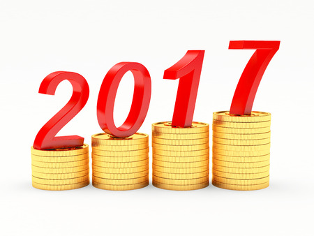 Graph with red numbers 2017 New Year on stacks of golden coins isolated on white background. 3D illustration Stock Photo