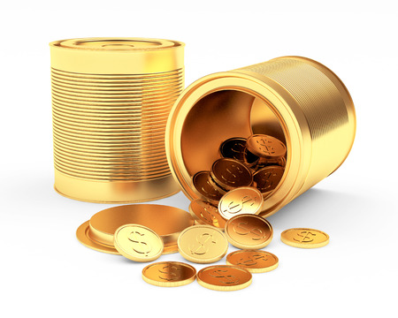 spilled: Closed and open golden cans with spilled coins on white background. 3D illustration