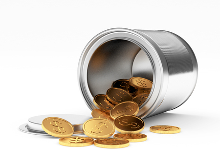 spilled: Golden coins with dollar sign spilled from the metal can on white background. 3D illustration