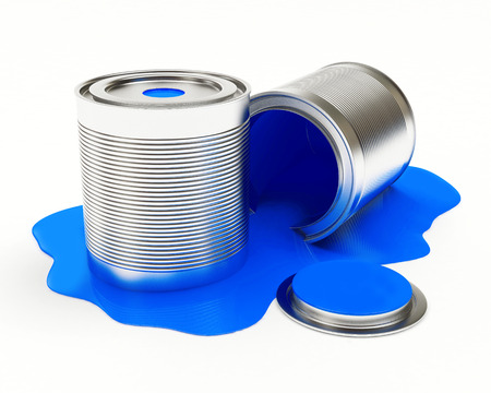 spilled: Cans spilled blue paint isolated on white background. 3D illustration