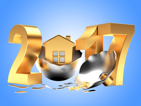 broken house: Golden 2017 New Year and broken silver Christmas ball with house on blue background. 3D illustration