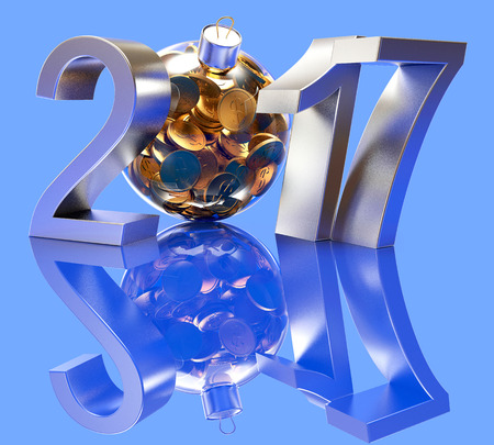 glass reflection: Silver 2017 New Year and glass Christmas ball full of golden coins on blue background with reflection. 3D illustration Stock Photo