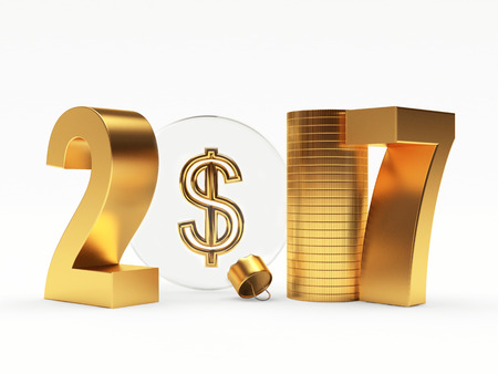 year increase: 2017 New Year with glass Christmas ball with dollar sing isolated on white background. 3D illustration Stock Photo