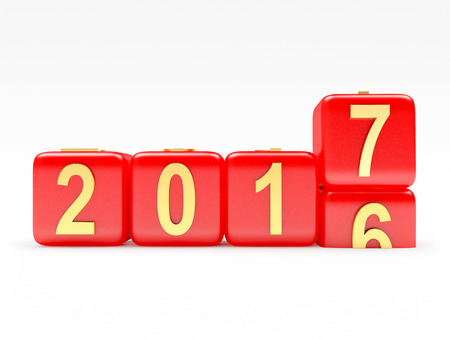 2017 New Year concept. Red cubes 2016 changing for 2017. 3D illustration