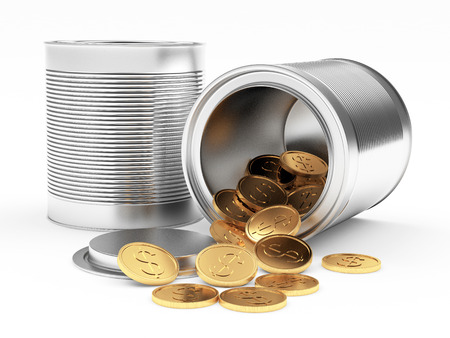 spilled: Closed and open metal cans with spilled golden coins on white background. 3D illustration