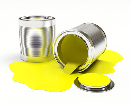 Cans spilled yellow paint isolated on white background. 3D illustration