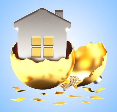 broken house: Broken golden Christmas ball with a silver house on blue background. 3D illustration Stock Photo