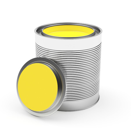 Opened a bank with yellow paint isolated on white background. 3D illustration Stock Photo