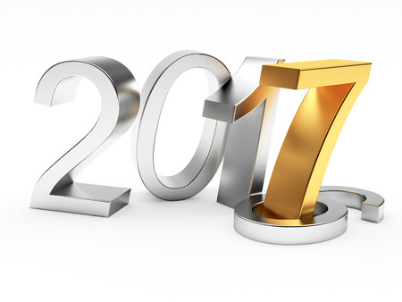 changed: 2017 New Year concept. Silver in 2016 changed to golden 2017 isolated on white background. 3D illustration