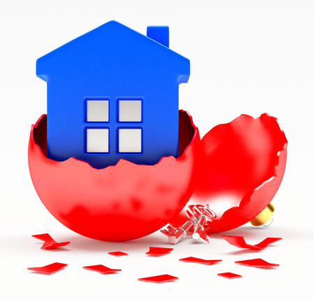 broken house: Broken red Christmas ball with blue house inside on white background. 3D illustration