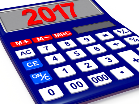 christmas budget: Electronic calculator with the numbers 2017 on the display isolated on white background. 3D illustration