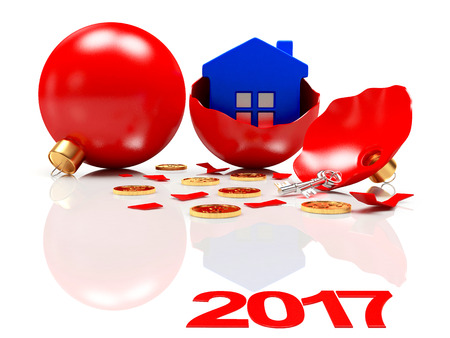 broken house: Broken red Christmas balls with a blue house inside and text 2017 with reflection. 3D illustration Stock Photo