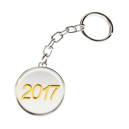 key chain: Round metal key chain with numbers 2017 New Year isolated on white background. 3D illustration