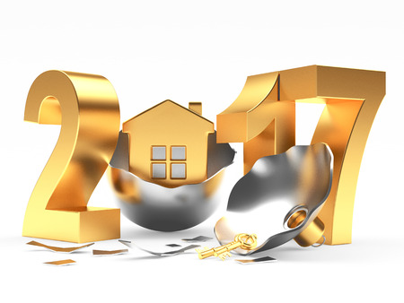 broken house: Golden 2017 New Year and broken silver Christmas ball with house on white background. 3D illustration