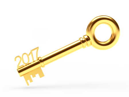 Golden key with numbers 2017 isolated on white background. 3D illustration