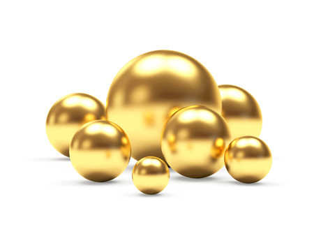 Group of shining golden spheres of different diameters. 3D illustration
