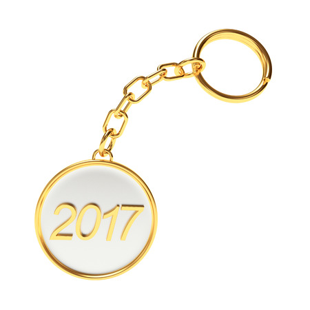 Round golden key chain with numbers 2017 New Year isolated on white background. 3D illustration