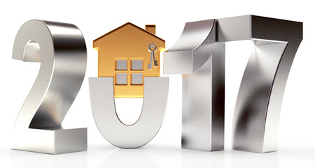 Silver 2017 New Year with golden house on white background. 3D illustration Stock Photo