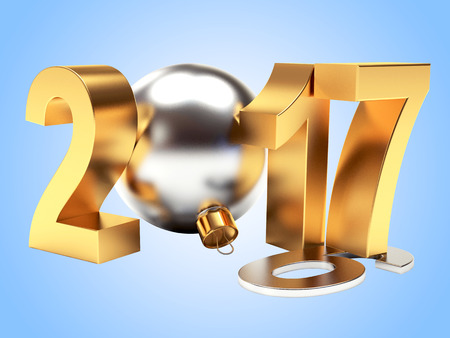 2016 changed to golden 2017 New Year on blue background. 3D illustration Stock Photo