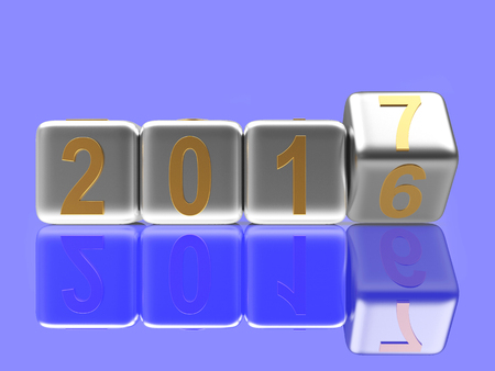 2017 New Year concept. Silver cubes 2016 changing for 2017 on blue background. 3D illustration Stock Photo
