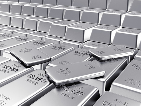 silver ingots: Rows of ingots and flat silver bars. Business and financial background. 3D illustration