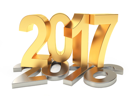 2017 New Year concept. Silver numbers 2016 2017 changed to golden isolated on white background. 3D illustration Stock Photo