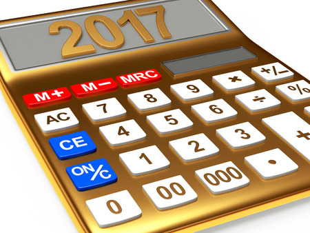 Golden calculator with the numbers 2017 on the display isolated on white background. 3D illustration